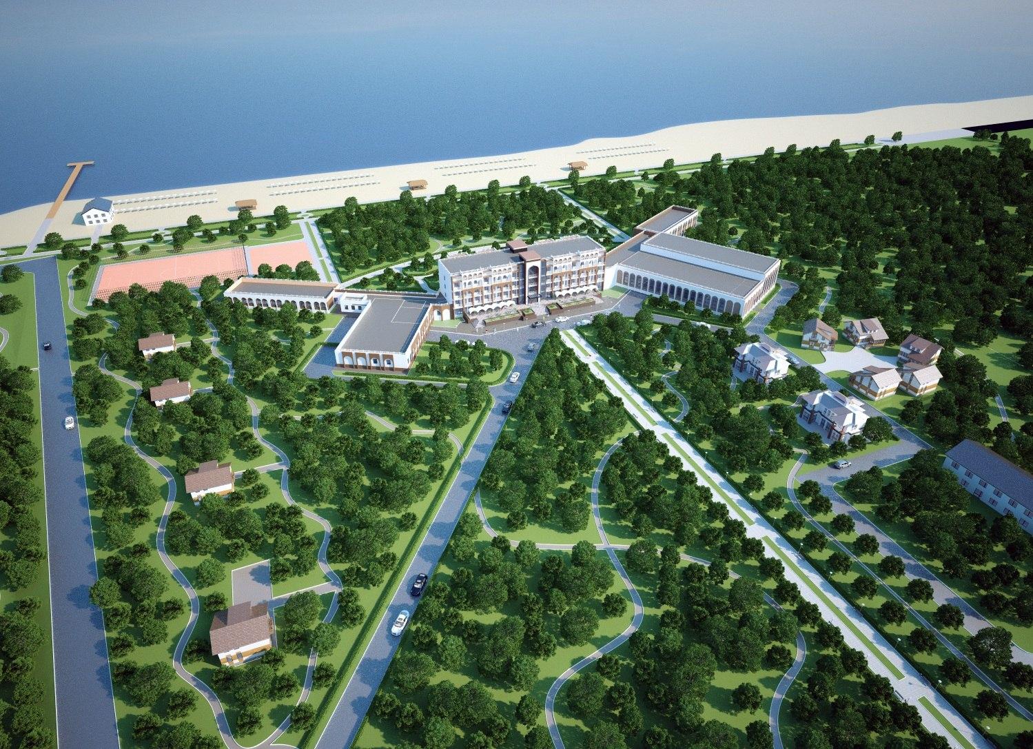 Архитектурный проект санатория в городе Иссык-Куль. Вид с высоты птичьего полета