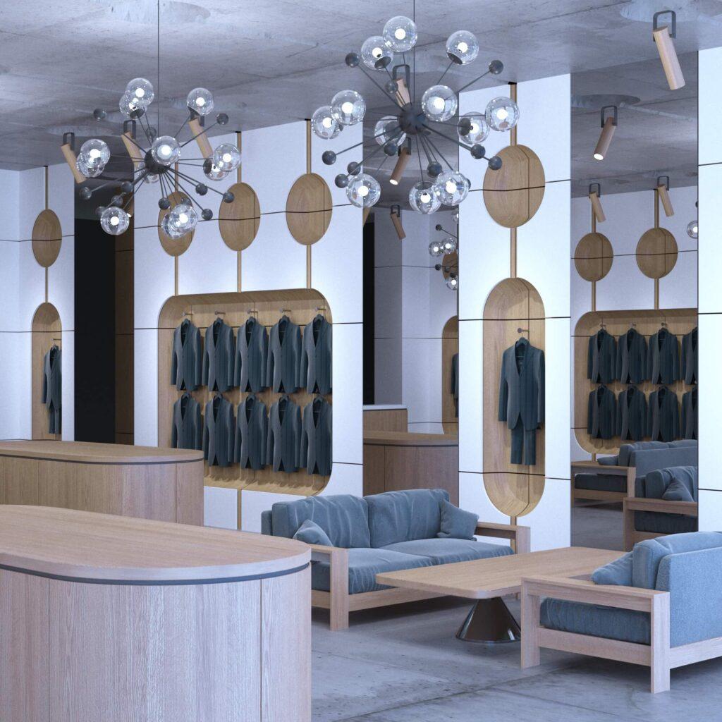 Дизайн интерьера бутика мужской классической одежды.