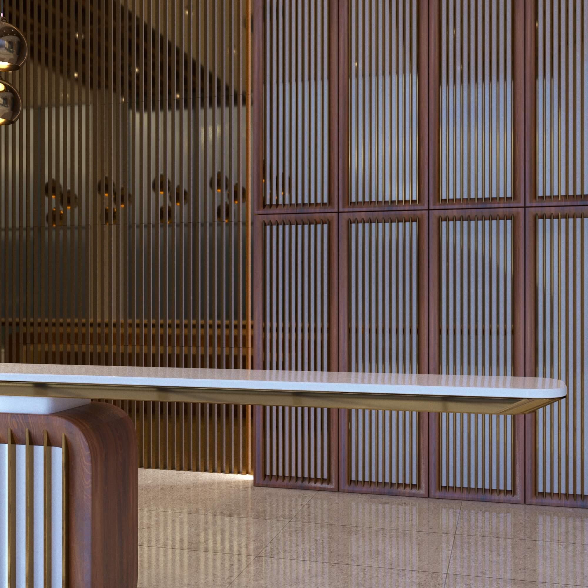 Дизайн вестибюля в необычном стиле современного минимализма. В проекте использованы в качестве отделки натуральный камень, шпон, металические рейки, рейки из натурально камня.
