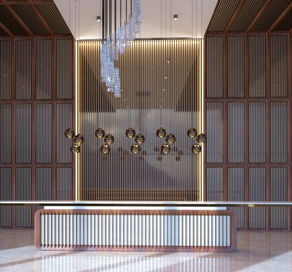 Дизайн вестибюля в необычном стиле современного минимализма. В проекте использованы в качестве отделки натуральный камень, шпон, металические рейки, рейки из натурально камня.2