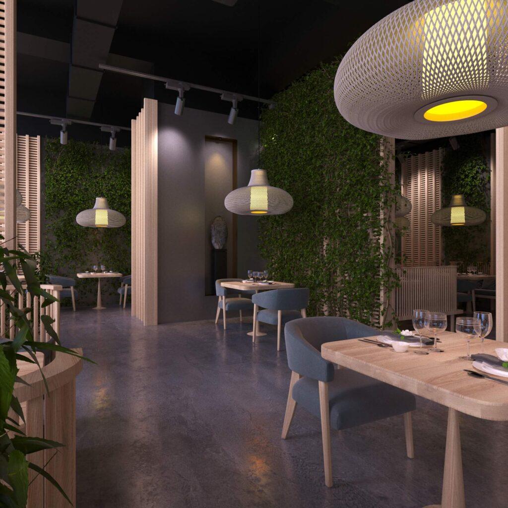 Дизайн интерьера кафе в Самоанском стиле. С использованием натуральных материалов и элементов озеленения стен2