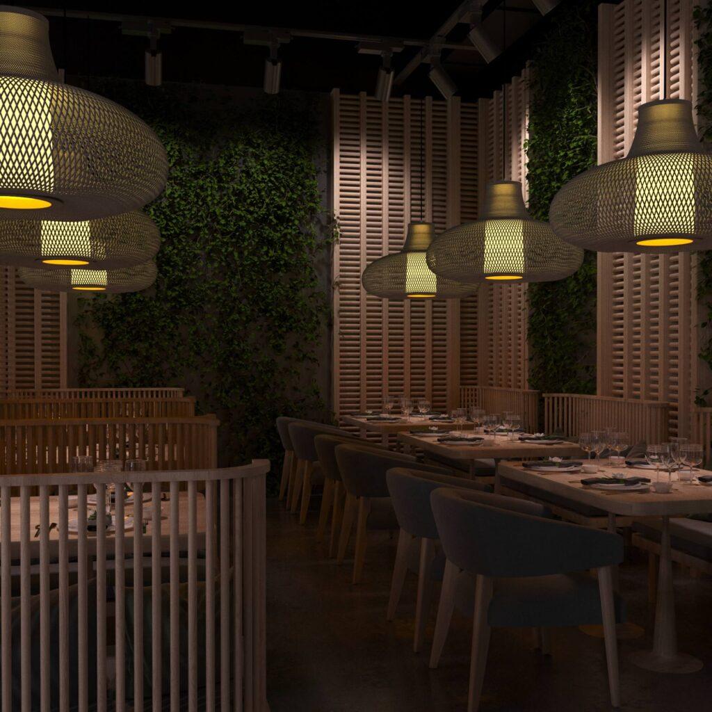 Дизайн интерьера кафе в Самоанском стиле. С использованием натуральных материалов и элементов озеленения стен