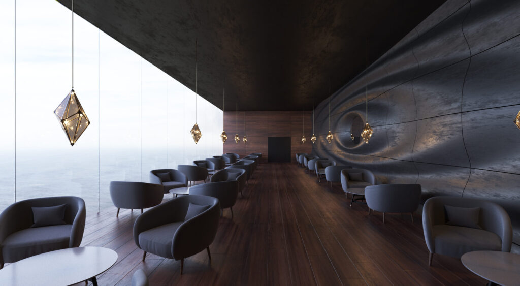 Дизайн интерьера кафе. В интерьере использованны натуральный камень, деревянные рейки. Все в пастелных приглущенных тонах.