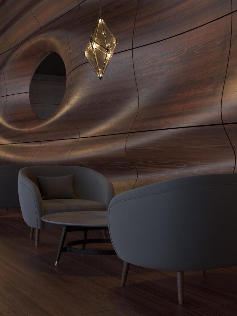 Дизайн интерьера кафе. В интерьере использованны натуральный камень, деревянные рейки. Все в пастелных приглущенных тонах.23